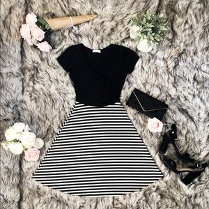 Black and White Wrap Style A-Line Dress